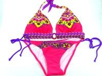 High quality 2014 hot sexy women print flower swimwear bikini bathing suit low price free shipping red and white