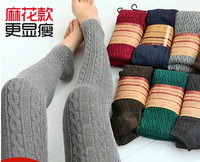 new fashion women pants autumn and winter yarn female twisted legging knitted vintage step pants long