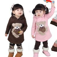 2015 winter bear girls clothing children air cotton sweatshirt girls warm hoodies
