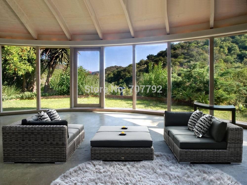 2015 Fancy Outdoor resin rattan steel pipe furniture sofa set(China (Mainland))