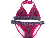 wholesale price women print swimwear bikini set hot selling red and blue swimsuit beachwear free shipping