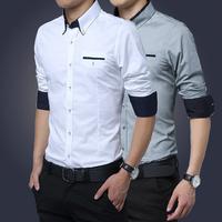 Plus Size 5XL New Brand Mens Dress Shirts Long Sleeve Casual Shirt Men Slim Fit Formal Shirt Camisa Masculina 2015