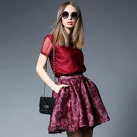 women summer dress 2015 fashion new spring red flower print slim fits twinset short sleeve shirt casual dress set