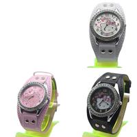 Fashion Casual PU Leather Cartoon Round Hello Kitty Watch Children Crystal Quartz Wristwatch Kid's Lovely Gift Pink Black White
