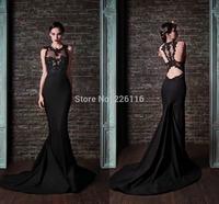 2014 Vestido Vestido De Renda 2015 Sexy Fashion Lace Formal Evening Dresses Mermaid Floor Length O-neck Sleeveless Stain_bridalk