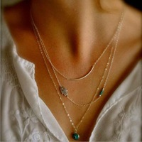 Chic Gold Three Layers Long Curve Evil Hand Beads Pendant Necklace Thin Chain Simple Punk Boho Emo Celebs Style