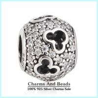 2015 New Authentic 925 Sterling Silver Pave Zircon Mickey Silhouettes Charms For Women DIY Jewelry Antique Silver Charms Er454