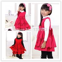 Girls Princess Dresses Korea Style Girl's Autumn Winter short sleeve Woolen Fashion Dresses 5pcs/lot Free Shipping DA607