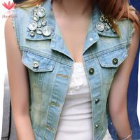 2015 Spring Autumn Vintage Womens Denim Vest Sleeveless Beading Short Coat Colete Jeans Feminino Women Jacket Vests J19251S