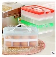 Portable Plastic Double Egg Storage Box  Refrigerator Crisper Storage Box Egg Tray