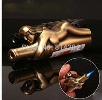 Jet Flame Fill Butane Fuel Cigar Cigarette Lighter New Mini Red Wine Bottle With Women Hug Design Gadget