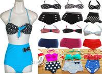 Sexy Retro Women High Waist Swimsuit Bandage Women Swimwear Push Up Bikinis Set Bathing Suit
