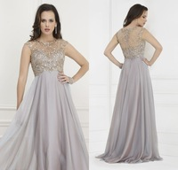Stunning Beads Crystals Tops Long Chiffon Mother of the Bride Dress 2015 O Neck Cap Sleeves Empire A Line Party Gown