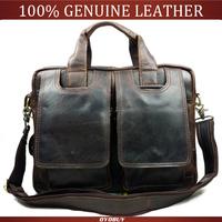 New men's genuine leather bags leisure business Men Shoulder Messenger laptop bag leather bag high quality