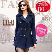 Woolen outerwear overcoat women 2014 spring women's medium-long slim cotton lapel woolen overcoat thick warm wool coats
