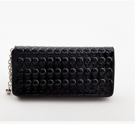 European and American trade selling single long paragraph tide patent leather zipper wallet skull