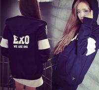 2015 kpop coat Women  EXO Printed Sweatshirt Hoody Hoodiies Tracksuits Pullovers Sport Suit Tops Outerwear Woman exo kpop hoodie