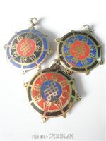 TBP819  Tibetan Brass Golden Wheel Lucky Knots Amulets,Nepal metal inlaid turquoise pendants Wholesale Tibetan Amulets