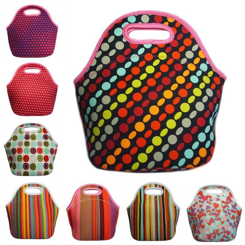 Mulheres crianças lunchbags tote lancheira térmica thermo duplas neoprene lunch bag com zíper saco térmico isolamento lancheira(China (Mainland))