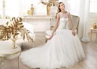 2014 Real Fashionable Elegant Bridal Mermaid Appliqued Soft Tulle Wedding Dress Covered Back Custom Made Free Shipping22_brida