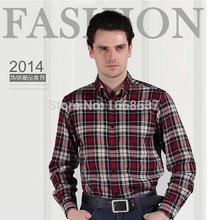 Casual men's wool padded check shirt hot selling long sleeves british slim men shirt discount price(China (Mainland))