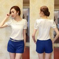 New Women Hollow V-Collar T-Shirt Short Sleeves Slim White Top Chiffon Blouse free shipping 1
