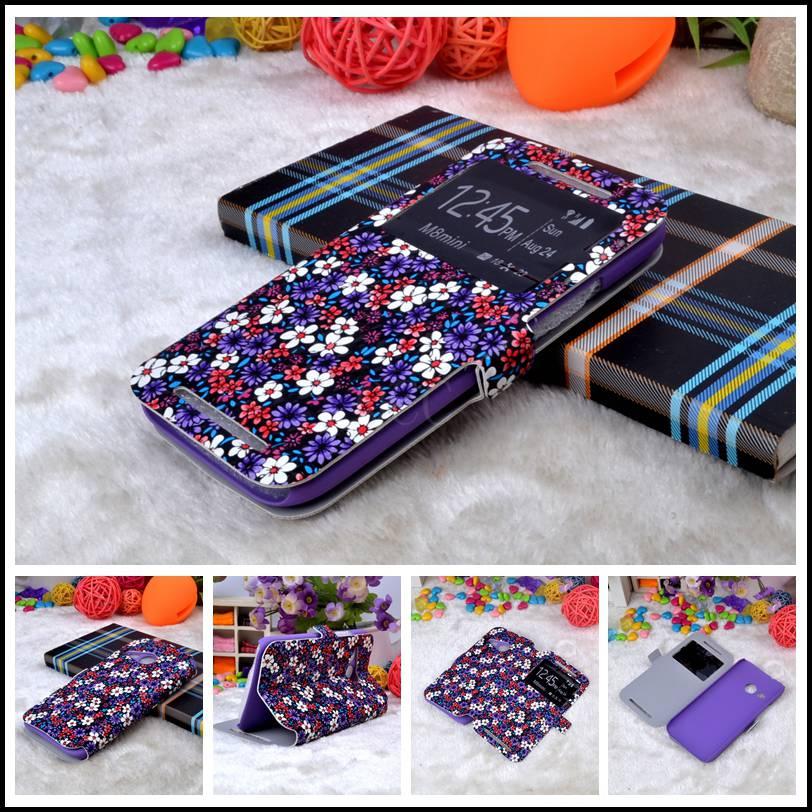 Romantic Cherry tree PU Leather flip Case For htc one mini 2 m8 mini verizon sakura flower pouch + Stand Function + cards holder(China (Mainland))
