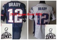 2015 Super Bowl Jersey XLIX Patch 12 Tom Brady Men's Authentic Blue White Super Bowl XLIX Stitched Elite Jersey