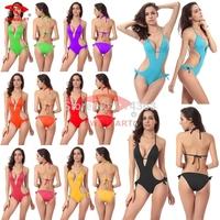 New 2015 Sexy Deep V Bikini Brazilian Vintage Biquini Women Swimwear Push Up Swimsuit Bra Padded Bathing Suit Bikinis