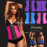 3 Hooks&Eyes Sexy Womens Steel Boned Latex Sport Corset Rubber Waist Training Cincher Bodysuit Shapewear S-3XL Free P&P
