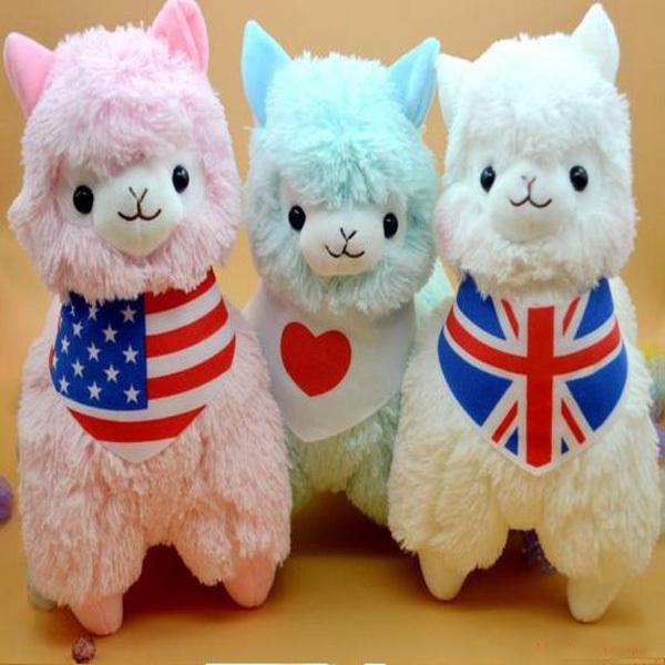 Kawaii Japan Alpaca Plush Toys Wearing Flags 5 Colors Giant Plush Animals Sheep Toy Juguetes 45cm Alpacasso Plush Birthday Gift(China (Mainland))