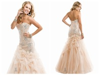 2014 Best Mermaid Sweetheart Sleeveless Floor Length Tulle Champagne Beaded Formal Party Long Evening Dresses Prom Dresses Gown_