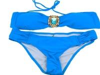 High quality 2014 hot sexy women swimwear bikini bathing suit blue squre crystal swimsuit nice gift