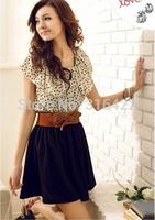2015 New Korean Women Summer New Fashion Chiffon Dress Short-sleeve Dots Polka Waist Mini Beige+Black Free Shipping Z 101