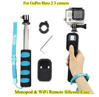 Extendable Monopod Remote Pole & WiFi Remote Silicone Case for GoPro Hero 2 3 camera