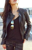 2015 New Fashion Brand Spring Autumn Leather Jackets Women's Short Slim Motorcycle Coats Ladies Black Blazer Zipper Outerwear