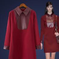 Winter Dress 2015 Fashion High Quality Women Long Sleeve Peter Pan Collar PU Leather Patchwork Casual Slim Dress Vestidos ,B3063