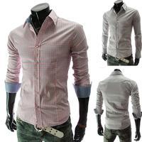 Free Shipping High Quality Men'S Long-Sleeved Cotton Shirt Fashion Casual Shirt Slim Classic Plaid Shirt Size M-XXL