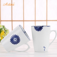 Handmade brief blue and white milk mug coffee cup office glass ceramic