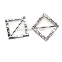 "30pcs lot new free shipping 1"" long bar rhodium clear rhinestone garment diamond buckle accessories"