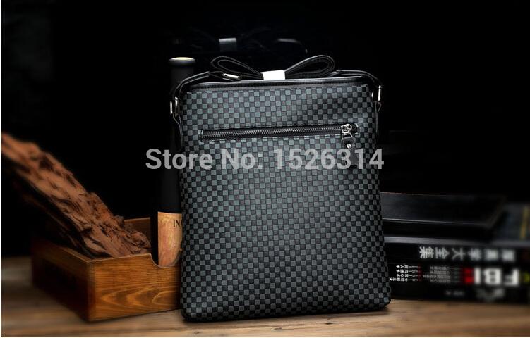 2014 new fashion big man bag, men's leather messenger bag, plaid leisure PU handbag, British style shoulder bag free shipping(China (Mainland))