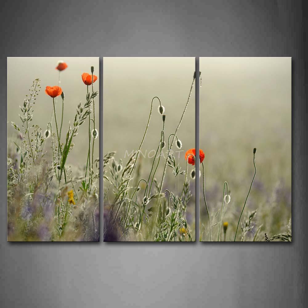 3 peça Wall Art Painting laranja Poppy com folhas imagem do retrato impressão em tela flor 4 The Picture Home Decor impressões petróleo(China (Mainland))