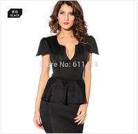 LD037,Free shipping sexy short-sleeves deep V fashion Nightclub lotus leaf place small formal attire black dress