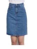 Free Shipping Women Summer high waist elastic waist denim skirt,  slim hip woman jeans skirt   S M L XL