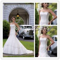 LD0422 Elaborated A-line Lace Wedding Dresses 2014 Strapless Beaded Bridal Gowns Open Back Custom Made Vestidos de Novia_BRIDALK