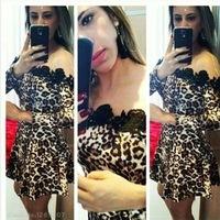 2015 New Women Sexy Leopard Dress Long Sleeve Slash Neck Mini Summer Party  Lace Dresses Ladies Club Wear S M L XL vestidos