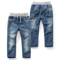 2015 winter trousers boys girls plus velvet thickening long trousers jeans pants for kids