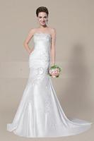 FDCL Custom Size New Elegant White/ivory Beading Applique Satin Bridal Gown Sheath Strapless Floor-Length Wedding Dresses