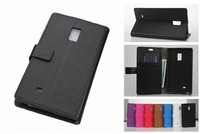 Popular Litchi-Texture PU Leather Mobile Phone Bag Case for Samsung Galaxy Note Edge N9150,with Card Holders,50pcs/lot