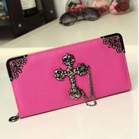 The new ms han edition handbag retro metal rivet cross Angle long wallet wallet hand bag